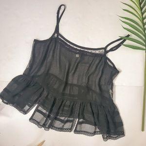 Free People Intimately Black Sheer Lace Slip Tank